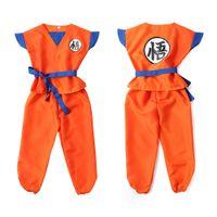 trajes de cosplay de bola de dragão venda por atacado-Dragon Ball Z Roupas Terno Son Goku Trajes Cosplay Top / Calça / Cinto / Cauda / wrister / Peruca Para Crianças Adulto