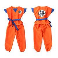 disfraz de dragon ball goku al por mayor-Dragon Ball Z traje de ropa Son Goku Cosplay disfraces Top / Pant / Belt / Tail / wrister / Wig para niños adultos