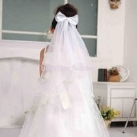 ingrosso fascia di nozze rosa-Girls Lovely Bowknot Wreath Veil Headband Wedding Hair Wreath Floral Crown Veil Bianco o Rosa Nuovo