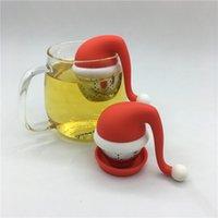 bolas de bolsa de té al por mayor-Santa Sombrero Infusor de té Colador y Bola de acero Bolsas de té de silicona de grado alimenticio Filtros Creativo fiesta de año nuevo favor Decoración de escritorio para el hogar FFA2732