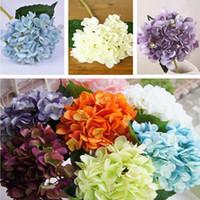 Wholesale artificial hydrangeas bouquet resale online - Artificial Hydrangea Flowers cm Length cm Dia DIY Bouquet For Home Wedding Decoration Silk Single Real Touch Hydrangeas