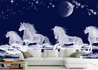 white horse autocollants achat en gros de-Personnalisé taille 3d photo papier peint salon chambre chambre murale lune courir blanc cheval 3d image canapé TV toile de fond papier peint non-tissé autocollant