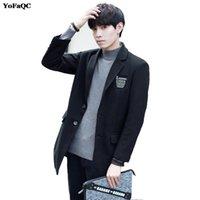 moda coreana chaqueta de hombre invierno al por mayor-Nueva primavera, otoño, invierno, para hombre, moda, casual, botonadura larga, gabardina, estilo coreano, chaqueta de abrigo, capa de guisante, abrigo, 2xl