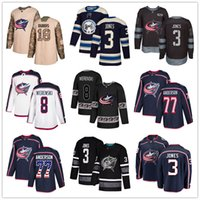eishockey jerseys columbus großhandel-Individuelle Columbus Blue Jackets Jersey 13 Cam Atkinson 18 Pierre-Luc Dubois 3 Seth Jones 8 Zach Werenski 77 Josh Anderson USA Flag Hockey