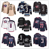 ingrosso usa hockey jersey blu-Personalizzato Columbus Blue Jackets Jersey 13 Cam Atkinson 18 Pierre-Luc Dubois 3 Seth Jones 8 Zach Werenski 77 Josh Anderson USA Flag hockey