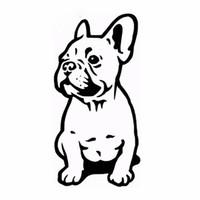 decalque do buldogue venda por atacado-14 * 7 CM Bulldog Francês Dog Adesivo de Carro Carros de Vinil Decalque Personalizado Janela Da Porta Da Parede Do Carro Sicker Preto / prata CA-1024