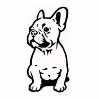 vinilo personalizado al por mayor-14 * 7 CM Perro Bulldog Francés Etiqueta Engomada Del Coche Vinilo Coches Calcomanía Ventana Personalizada Puerta Pared Coche Sicker Negro / plata CA-1024