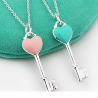 Wholesale jewelry neclace for sale - Group buy jewelry S925 sterling silver necklace enamel heart key pendant necklace pink blue sweather neclace for women