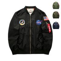 eski giysiler lüks toptan satış-Erkek Tasarımcı Ceketler Moda NASA Nakış Rozeti Pilot Ceket Lüks Erkek Giysileri Trendy Bayrak Baskı Beyzbol Mont Artı Boyutu M-6XL