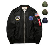 Wholesale vintage badges for sale - Group buy Mens Designer Jackets Fashion NASA Embroidery Badge Pilot Jacket Luxury Mens Clothes Trendy Flag Printing Baseball Coats Plus Size M XL