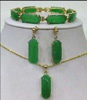 ingrosso bracciale in oro giallo-Gioielli Gioielli Green Jade Link Bracciale orecchini Collana pendente Set18K placcato oro orologio all'ingrosso quarzo pietra