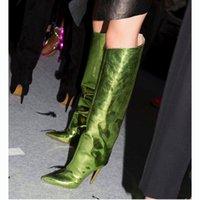 ingrosso scarpe verdi per le donne tacchi alti-Runway Scarpe Donna Metallic Mirror Knee High Green Leather alta della coscia Stivali Estate Autunno Stivali Donna Tacchi a punta le dita dei piedi