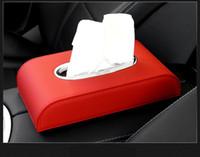 rote schwarze sitzbezüge großhandel-Auto Tissue Box Papierkästen Autogewebekastenhalter Serviette Lederabdeckung Fall schwarz rot beige braun Auto-Zubehör Auto-Dekoration