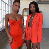 fatos de escritório venda por atacado-Sexy 2 Peça Set Casual Roupas Femininas Senhora Do Escritório Top E Shorts Suit Up 2 Peça Set Outfits Suit V Neck Blazer Set