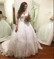 vestidos de noiva cortados na princesa venda por atacado-Branco de Tecido De Tule V Neck Longo manga ilusão Princesa Corte Curto Trem de Noiva Vestidos Vestido de Noiva Do Laço em Uk Vestido de Casamento Árabe Online