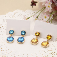 neuer ohrringstein großhandel-New York Designer Ohrringe Aqua Gold-Tone Citrine Drop Ohrringe mit Logo Big Glass Stone Ohrringe Günstige berühmte Designer-Schmuck