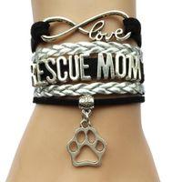 pulseira de couro do cão venda por atacado-Atacado-Infinity Love Rescue Mom ou Fur Mama Coração Charm Bracelet-Animal Dog ou Cat Pet Puppy trança de couro Handmade presente da amizade