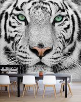 Bacal Custom Photo Wallpaper Tiger Animal Wallpapers 3D Black White Large Mural Living Room TV Backdrop 3D Wall Murals Wallpaper Roll