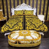 goldblau königin bettwäsche großhandel-High-End-Luxus königlichen französischen Italien Design Rokoko Print Medusa Marke König Queen-Size-Bettdecken weiß blau Gold Hochzeit Bettwäsche-Sets
