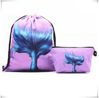 okul çantası çantası toptan satış-32 * 39 cm Mermaid İpli Çanta Karikatür Sırt Çantası Spor Omuz Çantası Açık Saklama Çantası Seyahat Cep çanta ile okul çantaları