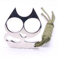 kırık pencere aracı toptan satış-Demir Kedi Çift Parmak Pirinç Knuckle Duster Kırık Pencere Açık Survival Çekiç Anahtarlık Çelik Toka Kendini Savunma araçları Koruyucu Dişli