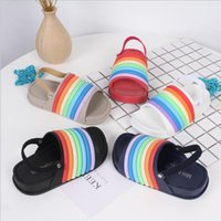 Wholesale baby girls footwear sandals for sale - Group buy Kids Stereoscopic Rainbow Slippers Baby Boys Girls Colorful Striped Sandals Summer Beach Antiskid Slippers Children Fashion Footwear YP895