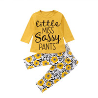 Wholesale cute trousers resale online - Infant Girl Cotton Costume Kids Yellow Flower Letter Top Pattern Trousers Baby Kids Girl Designer Clothing Set