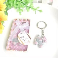 Wholesale keychain key ring favors for sale - Group buy Baby Carriage Key Ring Favors Baby Shower Baptism Party Keepsake Birthday Keychain Gifts