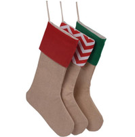 ingrosso calze di natale-12 * 18 pollici Tela Calza natalizia Sacchetti regalo Calze natalizie a righe Calze semplici di tela Sacchetti di caramelle Decorazioni natalizie GGA2505
