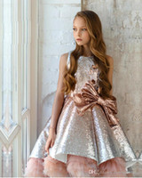 Wholesale floor length sequin rhinestone pageant dress for sale - Group buy Shiny Sequins Flower Girls Dresses Sleeveless Tulle Tiered TuTu Girls Pageant Gowns Gorgeous Puffy Prom Dresses787987