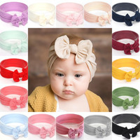 Wholesale birthday gifts for girls online - Nylon Bow Baby Headband For Girls Big Bowknot Hair Bands Elastic Headwrap Kids Birthday Party Gifts Hair Accessories Colors