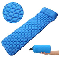 Wholesale inflatable sky for sale - Group buy 40D Nylon TPU Coating Outdoor Camping Waterproof Foldable Slef Inflating Air Sleeping Mattress Pad With Pillow