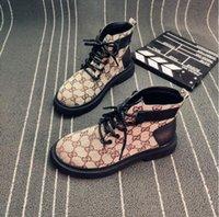 ingrosso suola di scarpone femminile-Martin stivali femminili autunno stile britannico letterario retrò high-top stampa con la suola spessa scarpe da donna con selvaggia locomotiva stivaletti corti
