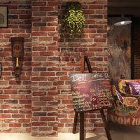 fondos de pantalla naturaleza pegatina al por mayor-Pegatinas decorativas Papel tapiz 3D imitación de ladrillo natural de la naturaleza estilo retro-nostálgico de la industria para cafetería comedor Bar y decoración del hogar