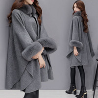 серое лисье пальто оптовых-Ponchos and Capes Women Fashion Ladies Flare Sleeve Faux  Fur Collar Winter Gray Wool Cloak Cape Coat Poncho Long Overcoat