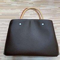 Wholesale navy printed handbags resale online - Women Tote Leather Shoulder Bags purse Brown Flower Print Handbags Crossbody big shopper Bag Business Laptop