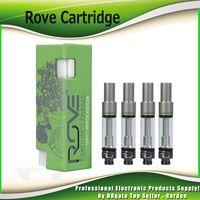 atomizador de tanque verde al por mayor-Rove Cartridges Green Vape Carts Pyrex Glass Tank 0.8ml 1.0ml Ceramic Coil Aceite grueso con 6 sabores Relleno superior Sin fugas Atomizador Caliente