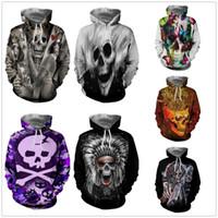 trajes de jack al por mayor-Cabeza de horror de Halloween Esqueleto Imprimir Disfraces Sudaderas Cosplay 3D Impreso Moda hombres de dibujos animados con capucha Suéter con cremallera Mujer Jack