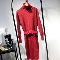ingrosso high collar wool belt-NOVITÀ Abito in lana d'oro con collo alto e cintura
