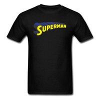 impresión personalizada en línea al por mayor-Superman camiseta negra para hombre camiseta de verano de manga corta 2018 tienda en línea personalizada 3D Letter Print Fashion Top