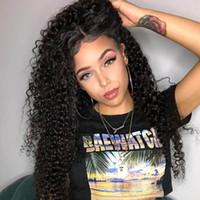 mezcla afro del pelo brasileño al por mayor-Caliente encantador suave suave afro de las mujeres pelucas rizadas brasileño Cabello africano Ameri Simulación cabello humano pelucas rizadas rizado con la parte media