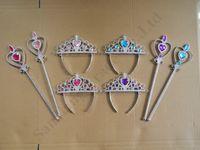 joyas para niños al por mayor-Navidad pelo de las muchachas Accesorios Snow Queen II 2 Tiara Corona y Varita Set de niños de los niños fiesta de la princesa Magic Stick Broche de pelo Jewel A110702 favor