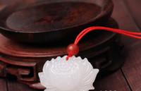 Wholesale white china rose pendant for sale - Group buy Natural Afghan White Jade Lotus Pendant Jade Pendant