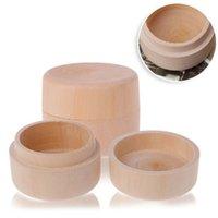 ingrosso mestiere di legno rotondo-Piccola scatola di immagazzinaggio di legno rotonda dell'anello scatola decorativa decorativa naturale contenitore di gioielli artigianali accessori da sposa CCA11868 60pcs