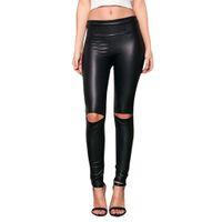 leggings de corte alto venda por atacado-Feitong das mulheres chegam novas Na Altura Do Joelho Cut Ripped Hole Alta fêmea Cintura Skinny Leggings De Couro Macio calças # y25