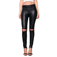 hoch geschnittene leggings großhandel-Feitong Frauen neu kommen Knee Cut zerrissene Loch hoch weibliche Taille dünne Leder Leggings weiche Mädchen Hosen # y25