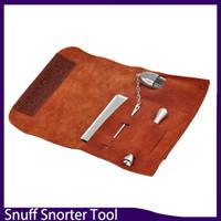 bolsas de tubería al por mayor-Bolsa de tabaco de cuero de primera calidad Bolsa + Snuff Snorter Tool Sniffer Straw Hooter Hoover Pouch Bag Pipe Smoking Case Pocket Size SET021 0266249