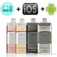 32gb flash bellekler bellek çubuğu toptan satış-Kaliteli USB Flash Sürücü iphone X / 8/7/7 Artı / 6/6 s / 5 / SE / ipad OTG Kalem Sürücü HD Memory Stick 8 GB 16 GB 32 GB 64 GB 128 GB Pendrive usb 3.0