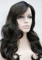 senhora escura venda por atacado-Peruca Frete Grátis Moda Dark Brown Longo Ondulado Das Senhoras Das Mulheres peruca Diária