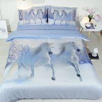 Wholesale horse bedding sets king size for sale - Group buy 3d horse Bedding Set king size Duvet Cover set with pillowcase queen single Bedline best gift bed set